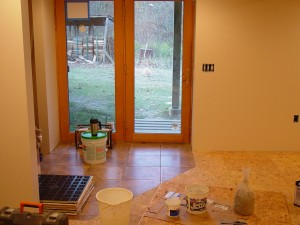 The Foyer with the Ceramic Floor Tile waiting to be Grouted.