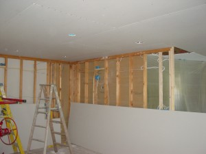 Now that the Ceiling Drywall has been hung the Walls can be boarded.