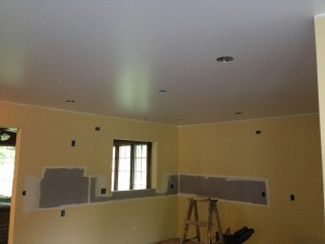 After the Drywall has been Finished, the initial Painting is done. The Ceiling has been Finish Coated and the Primer and First Coat of Finish Paint is applied.
